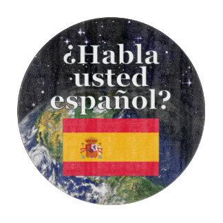 Do you speak Spanish? in Spanish. Flag & Earth Cutting Board