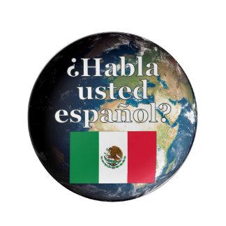 Do you speak Spanish? in Spanish. Flag & Earth Porcelain Plates