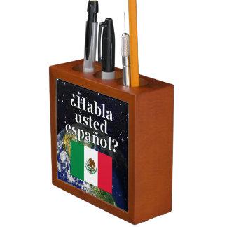 Do you speak Spanish? in Spanish. Flag & Earth Pencil Holder