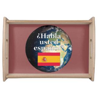Do you speak Spanish? in Spanish. Flag & Earth Food Trays