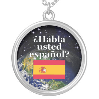 Do you speak Spanish? in Spanish. Flag & Earth Round Pendant Necklace