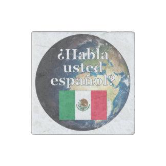 Do you speak Spanish? in Spanish. Flag & Earth Stone Magnet