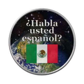 Do you speak Spanish? in Spanish. Flag & Earth Jelly Belly Candy Tins