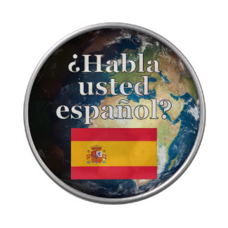 Do you speak Spanish? in Spanish. Flag & Earth Candy Tins