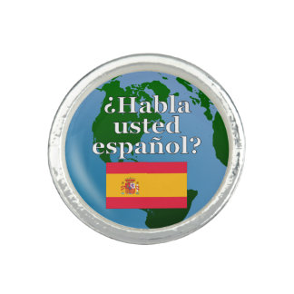Do you speak Spanish? in Spanish. Flag & globe