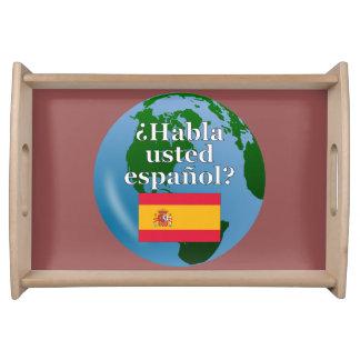 Do you speak Spanish? in Spanish. Flag & globe Service Tray