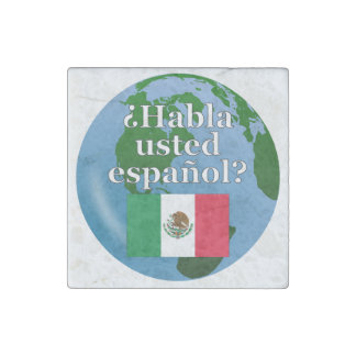 Do you speak Spanish? in Spanish. Flag & globe Stone Magnet