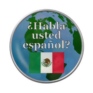 Do you speak Spanish? in Spanish. Flag & globe Jelly Belly Tin