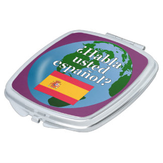 Do you speak Spanish? in Spanish. Flag & globe Vanity Mirrors