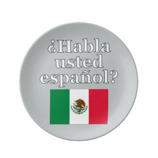 Do you speak Spanish? in Spanish. Flag Porcelain Plates