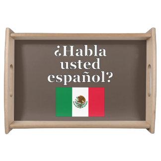 Do you speak Spanish? in Spanish. Flag Serving Platters