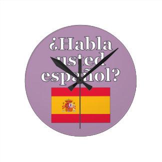 Do you speak Spanish? in Spanish. Flag Wallclock