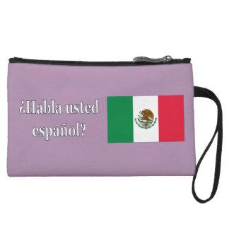 Do you speak Spanish? in Spanish. Flag wf Wristlet Clutches