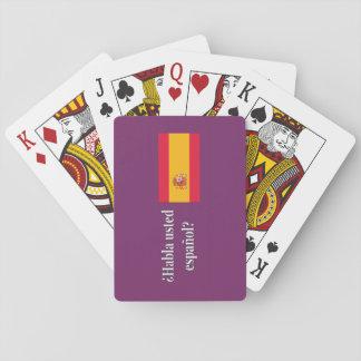 Do you speak Spanish? in Spanish. Flag wf Poker Deck