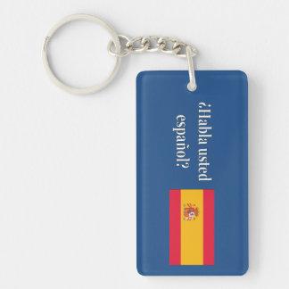 Do you speak Spanish? in Spanish. Flag wf Double-Sided Rectangular Acrylic Key Ring
