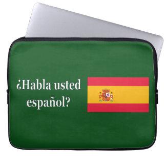 Do you speak Spanish? in Spanish. Flag wf Laptop Computer Sleeves