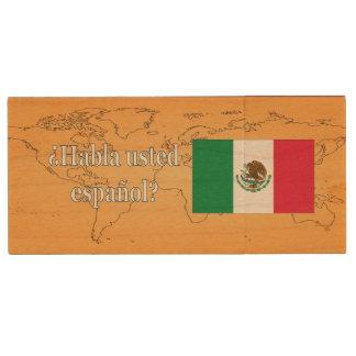 Do you speak Spanish? in Spanish. Flag wf Wood USB 2.0 Flash Drive