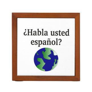 Do you speak Spanish? in Spanish. With globe Pencil Holder