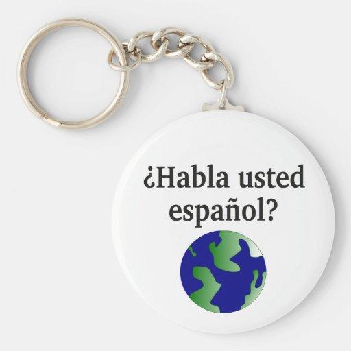 Do you speak Spanish? in Spanish. With globe Key Chains