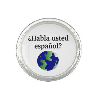 Do you speak Spanish? in Spanish. With globe Ring