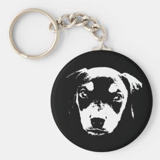 Dobe Pup -bw Basic Round Button Key Ring