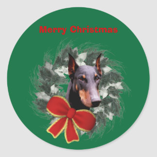 Doberman And Wreath Christmas Holiday Sticker