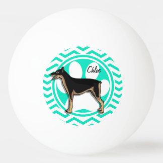 Doberman; Aqua Green Chevron Ping Pong Ball