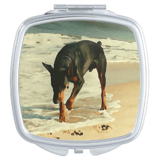 Doberman at the Beach Painting Image Mirror For Makeup