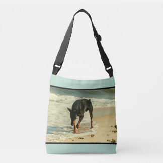Doberman at the Beach Painting Image Crossbody Bag
