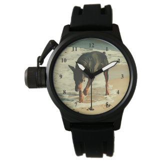 Doberman at the Beach Painting Image Wristwatch