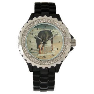 Doberman at the Beach Painting Image Wrist Watch
