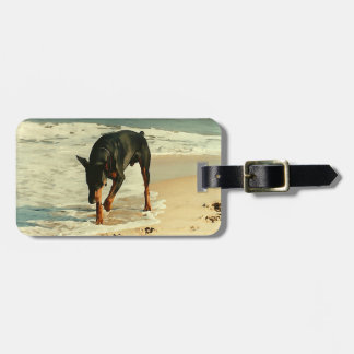 Doberman at the Beach Painting Image Luggage Tags