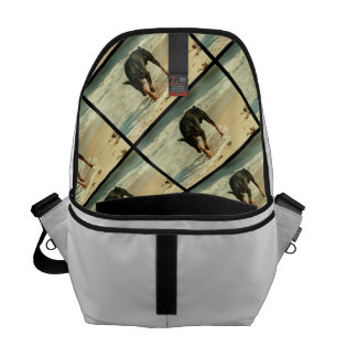Doberman at the Beach Painting Image Courier Bags