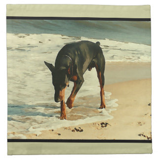 Doberman at the Beach Painting Image Napkin