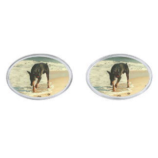 Doberman at the Beach Painting Image Silver Finish Cuff Links