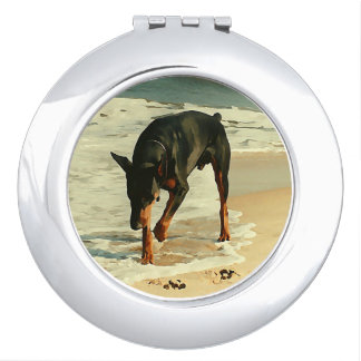Doberman at the Beach Painting Image Travel Mirror
