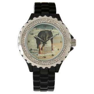 Doberman at the Beach Painting Image Wristwatch