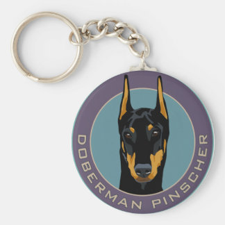 Doberman Badge, Black with green Basic Round Button Key Ring