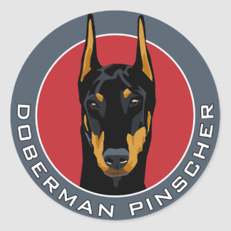 Doberman Badge, Black with Red Classic Round Sticker