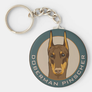 Doberman Badge, Red Basic Round Button Key Ring