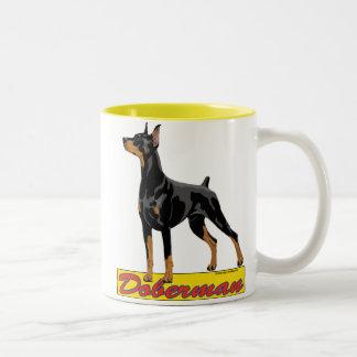 Doberman- black and red Two-Tone coffee mug