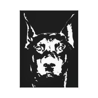 Doberman Black & White Wrapped Canvas Print