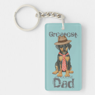 Doberman Dad Double-Sided Rectangular Acrylic Key Ring