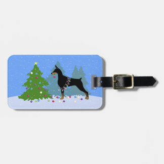 Doberman Decorating Tree in the Forest Luggage Tag