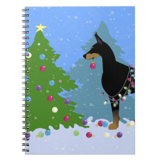 Doberman Decorating Tree in the Forest Notebooks
