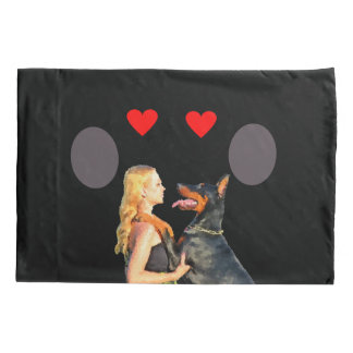 Doberman Dog Hugs Girl With Love-Throw Pillow Case
