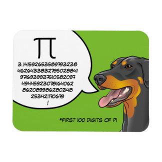 Doberman Dog Math Nerd 100 Digits of PI Magnet