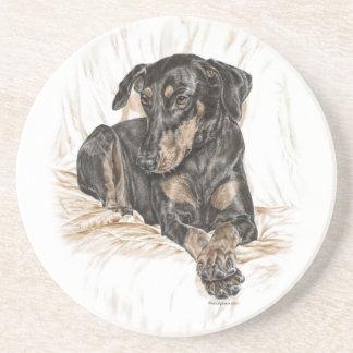 Doberman Dog Natural Ears Coaster