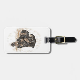 Doberman Dog Natural Ears Luggage Tag