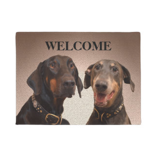 Doberman dogs welcome door mat